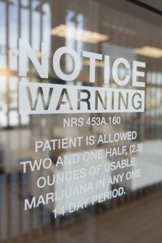 Window signage is shown at Inyo Fine Cannabis Dispensary in Las Vegas Wednesday, Sept. 30, 2015. Jason Ogulnik/Las Vegas Review-Journal