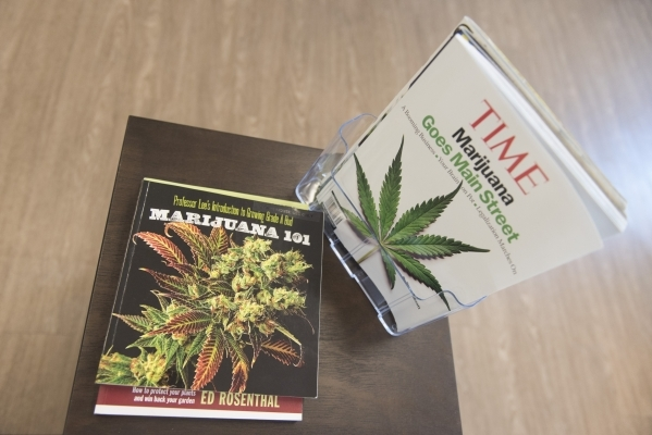 Books and magazines are shown in the lobby at Inyo Fine Cannabis Dispensary in Las Vegas Wednesday, Sept. 30, 2015. Jason Ogulnik/Las Vegas Review-Journal