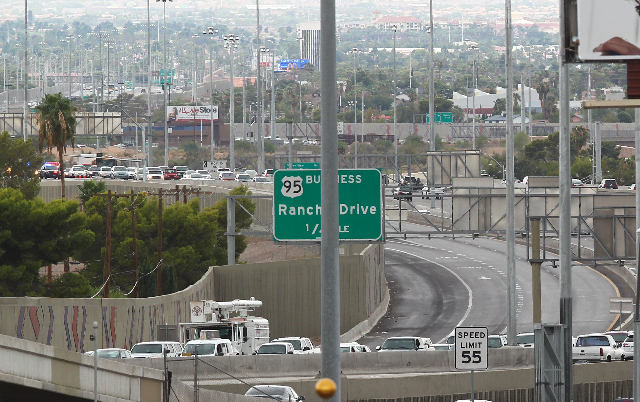 The ramp from southbound U.S. Highway 95 to southbound Interstate 15 is shown closed to traffic due to a tractor-trailer accident in Las Vegas on Tuesday, Sept. 15, 2015. Chase Stevens/Las Vegas R ...