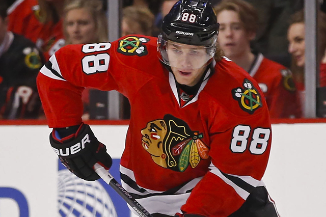 Chicago Blackhawks right wing Patrick Kane is seen during the first period against the Toronto Maple Leafs at United Center in Chicago, in this file photo taken December 21, 2014. (Kamil Krzaczyns ...