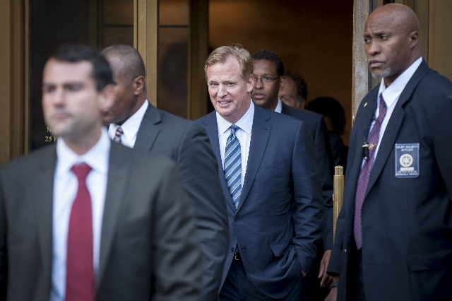 NFL Commissioner Roger Goodell exits the Manhattan Federal Courthouse in New York August 12, 2015. A federal judge on Wednesday fired tough questions at a National Football League lawyer about whe ...