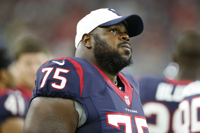 Aug 15, 2015; Houston, TX, USA; Houston Texans nose tackle Vince Wilfork (75) on the sidelines during the game against the San Francisco 49ers in a preseason NFL football game at NRG Stadium. (Mat ...