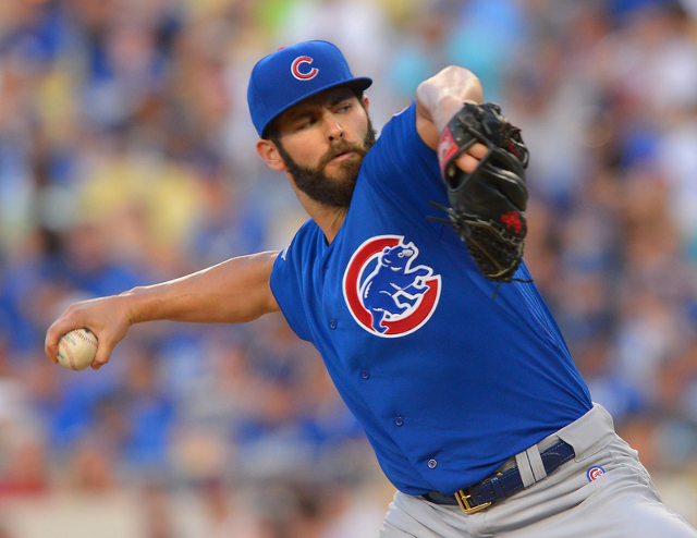 Chicago Cubs' Jake Arrieta pitches in the fifth inning against the Los Angeles Dodgers at Dodger Stadium on Sunday. (Jayne Kamin-Oncea-USA TODAY Sports)