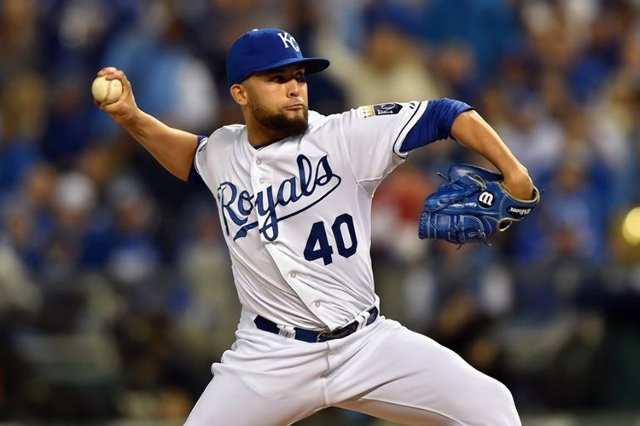Oct 29, 2014; Kansas City, MO, USA; Kansas City Royals relief pitcher Kelvin Herrera throws a pitch against the San Francisco Giants in the fifth inning during game seven of the 2014 World Series  ...