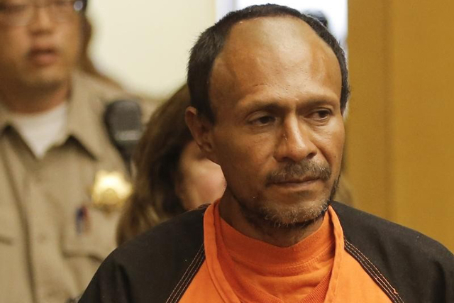 Juan Francisco Lopez-Sanchez is led into the Hall of Justice for his arraignment in San Francisco, California July 7, 2015. Francisco Sanchez, 45, was charged with murder on Monday for last week&l ...