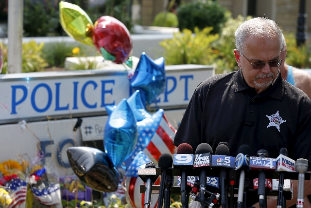 George Filenko of the Lake County Major Crimes Task Force holds a news conference at a vigil for slain Fox Lake Police Lieutenant Charles Joseph Gliniewicz in Fox Lake, Illinois, United States, Se ...