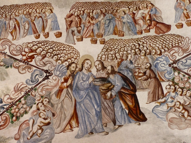 A detail of the 18th-century ceiling fresco illustrates the Biblical account of Christ's miracle in feeding multitudes by multiplying a few fish and loaves of bread, at the Atotonilco Sanctu ...