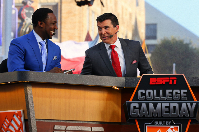 Sep 5, 2015; Fort Worth, TX, USA; Desmond Howard and Rece Davis during the live broadcast of ESPN College GameDay at Sundance Square. (Ray Carlin/USA Today Sports)