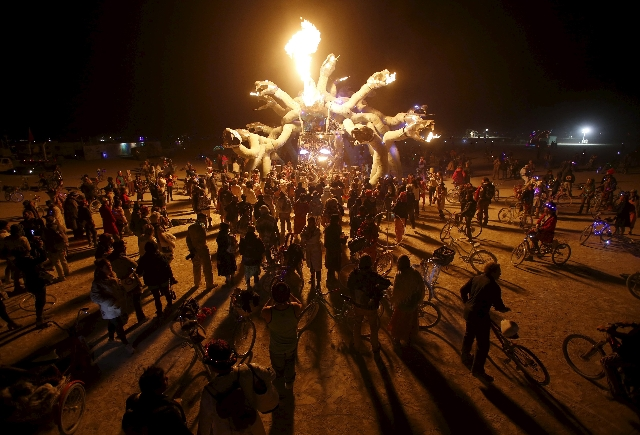 """Participants gather at Medusa Madness during the Burning Man 2015 """"Carnival of Mirrors"""" arts and music festival in the Black Rock Desert of Nevada, September 6, 2015. Sunday marks the la ..."""