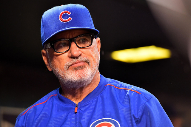 Sep 8, 2015; St. Louis, MO, USA; Chicago Cubs manager Joe Maddon (70) looks on before the game between the St. Louis Cardinals and the Chicago Cubs at Busch Stadium. (Jasen Vinlove/USA Today Sports)
