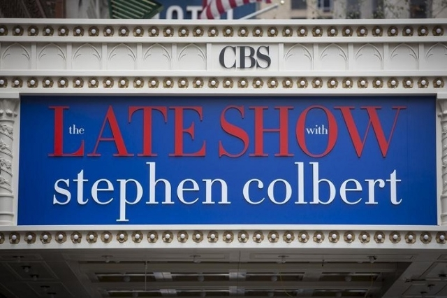 "The marquee for ""The Late Show with Stephen Colbert"" is seen on the Ed Sullivan Theater in Manhattan, New York, August 21, 2015. (Reuters/Andrew Kelly)"
