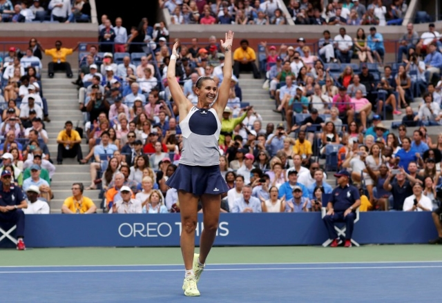 Flavia Pennetta of Italy celebrates after defeating compatriot Roberta Vinci in their women's singles final match at the U.S. Open Championships tennis tournament in New York, September 12,  ...