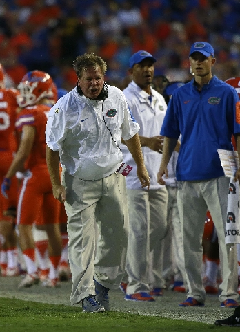 Sep 12, 2015; Gainesville, FL, USA; Florida Gators head coach Jim McElwain reacts against the East Carolina Pirates during the first quarter at Ben Hill Griffin Stadium. (Kim Klement/USA Today Sports)