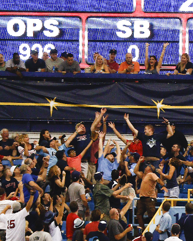 Sep 12, 2015; St. Petersburg, FL, USA; Fans reach to catch Boston Red Sox designated hitter David Ortiz (34) 500th home run ball during the fifth inning of a baseball game against the Tampa Bay Ra ...