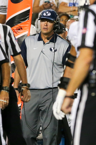 Sep 12, 2015; Provo, UT, USA; Brigham Young Cougars head coach Bronco Mendenhall talks with an official during the second quarter against the Boise State Broncos at Lavell Edwards Stadium. Mandato ...
