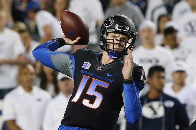 Sep 12, 2015; Provo, UT, USA; Boise State Broncos quarterback Ryan Finley (15) throws the ball against the Brigham Young Cougars during the second quarter at Lavell Edwards Stadium. Mandatory Cred ...