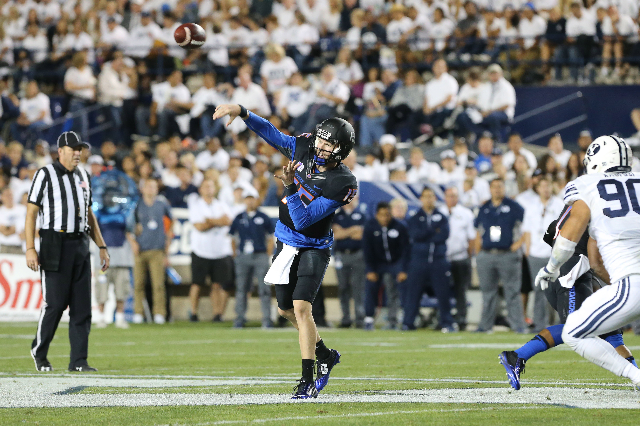 Sep 12, 2015; Provo, UT, USA; Boise State Broncos quarterback Ryan Finley (15) throws the ball during the second quarter against the Brigham Young Cougars at Lavell Edwards Stadium. Mandatory Cred ...