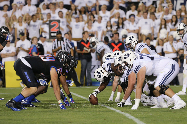 Sep 12, 2015; Provo, UT, USA; Brigham Young Cougars and Boise State Broncos line up before the snap during the second quarter at Lavell Edwards Stadium. Mandatory Credit: Chris Nicoll-USA TODAY Sports