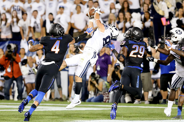 Sep 12, 2015; Provo, UT, USA; Brigham Young Cougars wide receiver Mitchell Juergens (87) scores the go ahead touchdown against the Boise State Broncos in the fourth quarter at Lavell Edwards Stadi ...