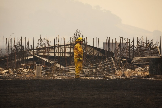 A firefighter surveys a destroyed home at the so-called Valley Fire near Middleton, California, September 14, 2015.  REUTERS/David Ryder