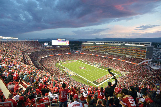Sep 14, 2015; Santa Clara, CA, USA; General view of the opening kickoff of the NFL game between the Minnesota Vikings and San Francisco 49ers at Levi's Stadium. (Kirby Lee/USA Today Sports)