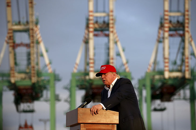 U.S. Republican presidential candidate Donald Trump speaks on the USS Iowa in front of the Port of Los Angeles in San Pedro, Los Angeles, California, United States September 15, 2015. REUTERS/Lucy ...