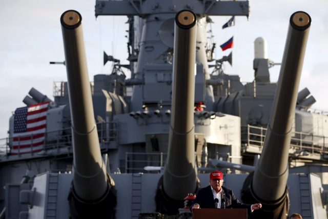 U.S. Republican presidential candidate Donald Trump speaks on the USS Iowa in San Pedro, Los Angeles, California, United States September 15, 2015. REUTERS/Lucy Nicholson