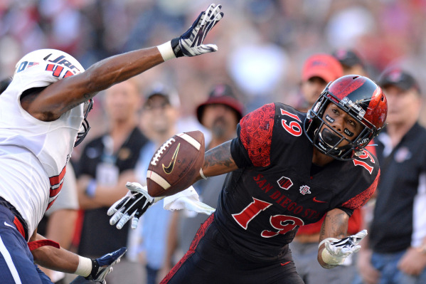 Sep 19, 2015; San Diego, CA, USA; San Diego State Aztecs running back Donnel Pumphrey (19) cannot bring in a pass as South Alabama Jaguars linebacker Demarius Rancifer (49) defends during the seco ...