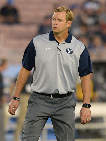 Sep 19, 2015; Pasadena, CA, USA; Brigham Young Cougars head coach Bronco Mendenhall before the game against the UCLA Bruins at the Rose Bowl. (Jayne Kamin-Oncea/USA Today Sports)