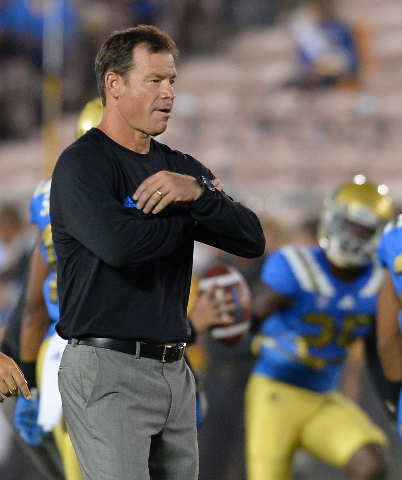 Sep 19, 2015; Pasadena, CA, USA; UCLA Bruins head coach Jim Mora before the game against the Brigham Young Cougars at the Rose Bowl. (Jayne Kamin-Oncea/USA Today Sports)