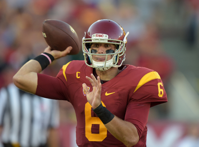 Sep 19, 2015; Los Angeles, CA, USA; Southern California Trojans quarterback Cody Kessler (6) throws a pass against the Stanford Cardinal at Los Angeles Memorial Coliseum. Mandatory Credit: Kirby L ...