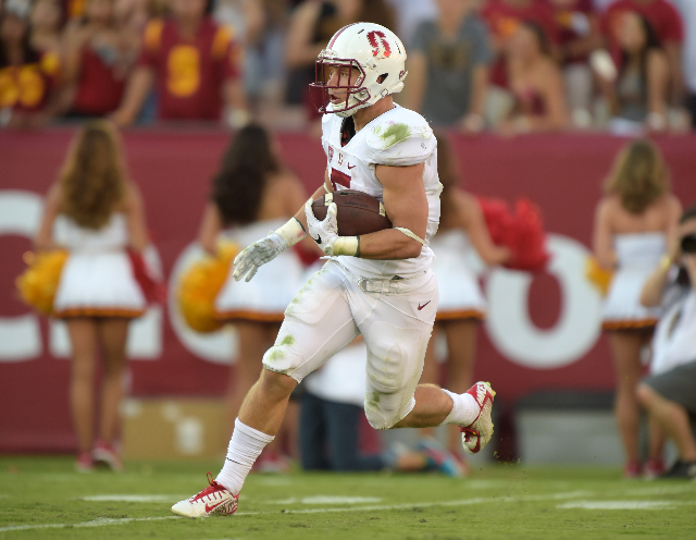 Sep 19, 2015; Los Angeles, CA, USA; Stanford Cardinal running back Christian McCaffrey (5) carries the ball against the Southern California Trojans at Los Angeles Memorial Coliseum. Mandatory Cred ...