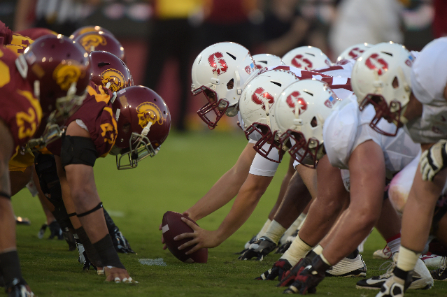 Sep 19, 2015; Los Angeles, CA, USA; General view of the line of scrimmage as Stanford Cardinal long snapper C.j. Keller (68) prepares to snap the ball against the Southern California Trojans at Lo ...