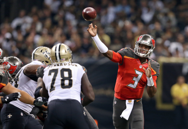 Sep 20, 2015; New Orleans, LA, USA; Tampa Bay Buccaneers quarterback Jameis Winston (3) throws the ball against the New Orleans Saints in the second quarter at the Mercedes-Benz Superdome. Mandato ...