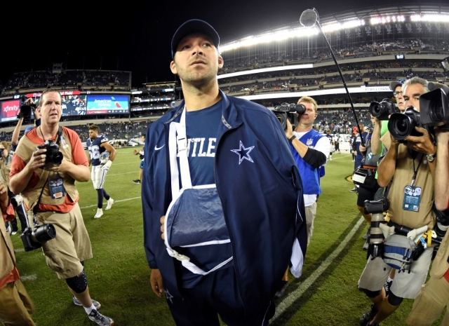 Sep 20, 2015; Philadelphia, PA, USA; Dallas Cowboys quarterback Tony Romo (9) on the field after game against the Philadelphia Eagles during the second half at Lincoln Financial Field. Romo left t ...