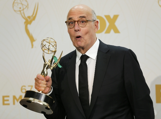 """Actor Jeffrey Tambor poses backstage with his award for Outstanding Lead Actor In A Comedy Series for Amazon Studios' """"Transparent"""" at the 67th Primetime Emmy Awards in Los Angeles ..."""
