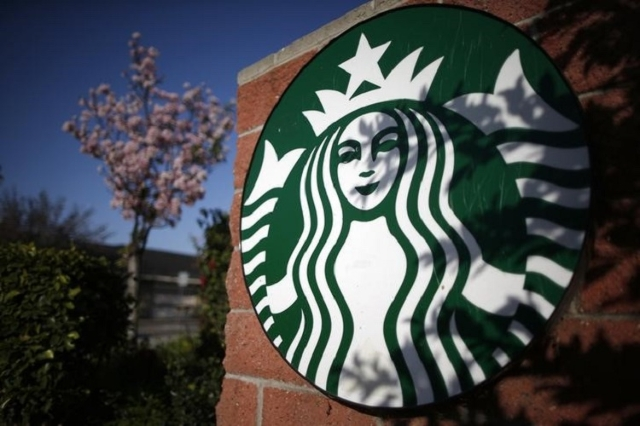 A Starbucks logo on a store in Los Angeles, California, March 10, 2015. (Reuters/Lucy Nicholson)