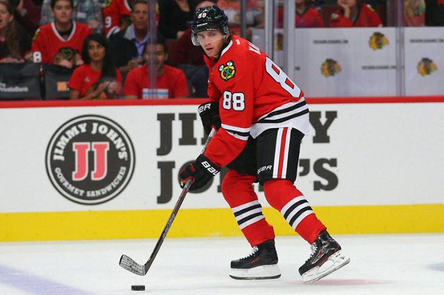 Sep 22, 2015; Chicago, IL, USA; Chicago Blackhawks right wing Patrick Kane (88) with the puck during the second period against the Detroit Red Wings at the United Center. (Dennis Wierzbicki/USA To ...