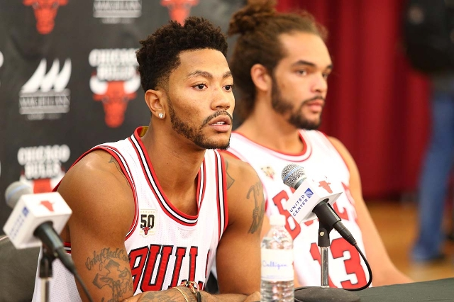 Sep 28, 2015; Chicago, IL, USA; Chicago Bulls guard Derrick Rose (1) speaks during media day at The Advocate Center. (Caylor Arnold/USA Tdoay Sports)