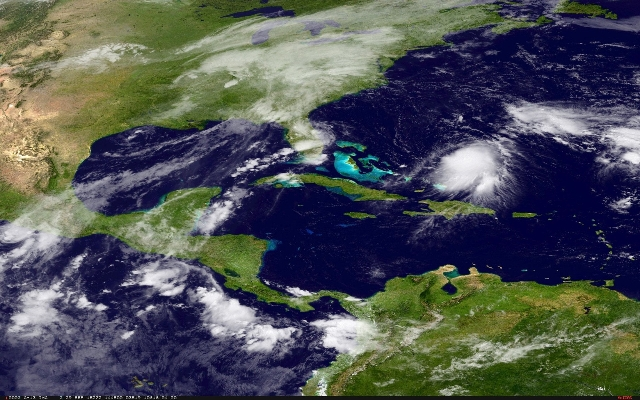 Tropical Storm Joaquin is seen approaching the Bahamas in this NOAA Goes-East satellite image taken Sept. 29, 2015. (NOAA/Handout/Reuters)