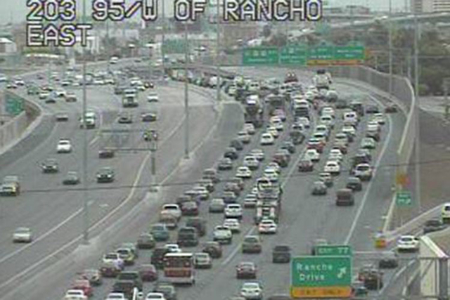 Traffic is backed up on southbound U.S. Highway 95 near the Rancho Boulevard exit on Tuesday, September 15, 2015, due to a tractor-trailer crash on the exit ramp to southbound Interstate 15. All l ...