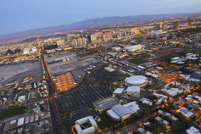 The Las Vegas Strip and the Thomas & Mack Center on the campus of the University of Nevada, Las Vegas, is shown in this aerial photo Friday, June 15, 2012. (Jeff Scheid/Las Vegas Review-Journal)