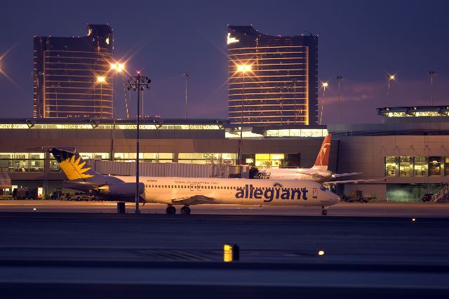 An Allegiant Air jetliner is shown on the tarmac at McCarran International Airport in Las Vegas, Tuesday, July 21, 2009. (K.M. Cannon/Las Vegas Review-Journal)