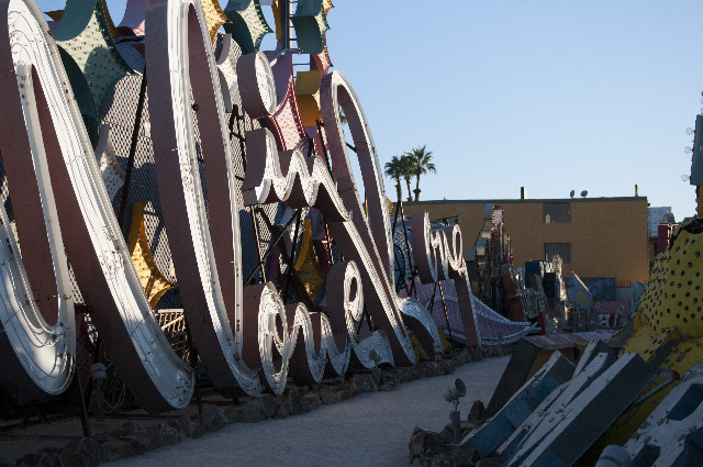 Signs are seen at the Neon Museum during a tour on Friday, Nov. 1, 2013, in Las Vegas. The museum is celebrating their one-year anniversary. (Erik Verduzco/Las Vegas Review-Journal)