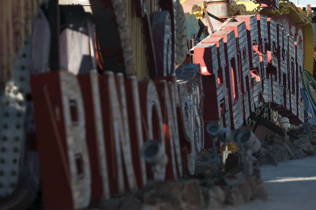 The old Binion's Horseshoe sign is seen at the Neon Museum during a tour on Friday, Nov. 1, 2013, in Las Vegas. The museum is celebrating their one-year anniversary. (Erik Verduzco/Las Vegas ...