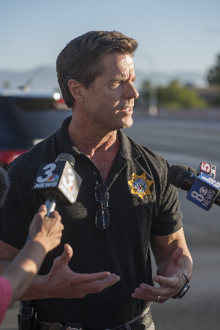 Metro Police Sgt. John Sheahan, speaks to the media about an officer involved shooting between the intersection of Rainbow and Alta in Las Vegas on Friday, Sep. 4, 2015. (Martin S. Fuentes/Las Veg ...