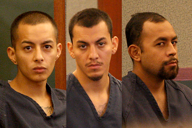 Hugo Carbajal Jr., left, 27, Francis Carbajal, 26, and Edgar Medina, 35, three of the men accused of ramming police cars and other charges, appear in court before Justice of the Peace Melissa Sara ...