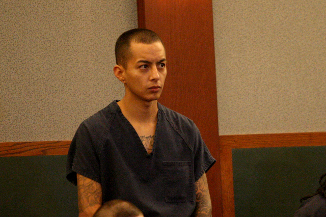 Hugo Carbajal Jr., one of the men accused of ramming police cars and also charged with 47 counts including burglary, grand larceny and assault with a deadly weapon, appears in court before Justice ...