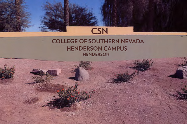 An early rendition of a proposed change to a monument sign at the College of Southern Nevada Cheyenne Campus. (College of Southern Nevada)