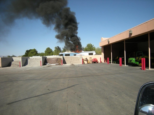 A vehicle fire is shown in this 2012 photo. The building in the photo is the one that burned Saturday, giving you an idea of what the building looked like before the fire. (Las Vegas Fire & Re ...